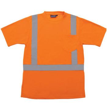 61786 ERB 9601S Class 2 Short Sleeve with Reflective Tape Hi Viz Orange 4X Safety Apparel - Aware Wear & Hi Viz Ts