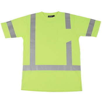 61282 ERB 9801S Class 3 Short Sleeve T-Shirt Hi Viz Lime 3X Safety Apparel - Aware Wear & Hi Viz Ts