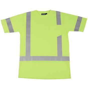 61283 ERB 9801S Class 3 Short Sleeve T-Shirt Hi Viz Lime 4X Safety Apparel - Aware Wear & Hi Viz Ts