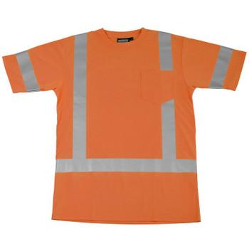 61275 ERB 9801S Class 3 Short Sleeve T-Shirt Hi Viz Orange 4X Safety Apparel - Aware Wear & Hi Viz Ts