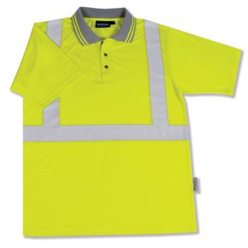 61466 ERB S369 Class 2 Polo Shirt Jersey Knit Hi Viz Lime Large Safety Apparel - Aware Wear & Hi Viz Ts