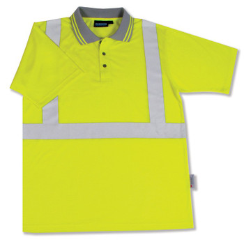 61467 ERB S369 Class 2 Polo Shirt Jersey Knit Hi Viz Lime X-Large Safety Apparel - Aware Wear & Hi Viz Ts