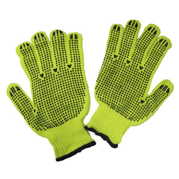 14395 ERB String Knit with PVC Dots Two Sided Hi-Viz Lime Gloves