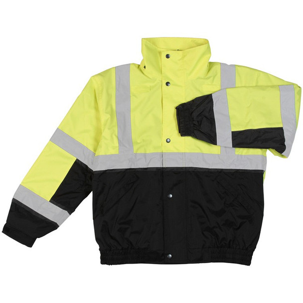 61592 ERB W106 Class 2 Bomber Jacket Hi Viz Lime and Black LG Safety Apparel - Aware Wear & Hi Viz Ts