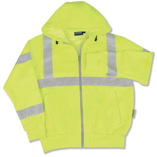61526 ERB W375 Class 3 Hooded Sweatshirt Hi Viz Lime LG Safety Apparel - Aware Wear Cold Weather Wear