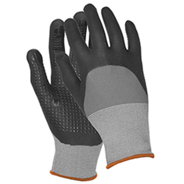 21229 ERB N300 Gray Nylon Nitrile Dots LG Gloves