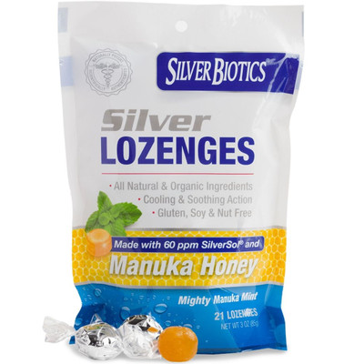 Silver Biotics Silver Lozenges with Manuka Honey - 60 ppm - 21 Mint Lozenges