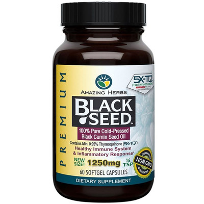 Amazing Herbs Premium Black Seed Oil - 1250 mg - 60 caps