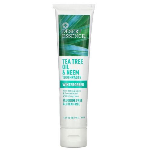 Desert Essence Tea Tree Oil & Neem Toothpaste Wintergreen 6.25 oz