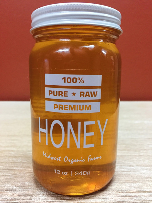 100% Pure Raw Premium Midwest Organic Farms Honey 12 oz