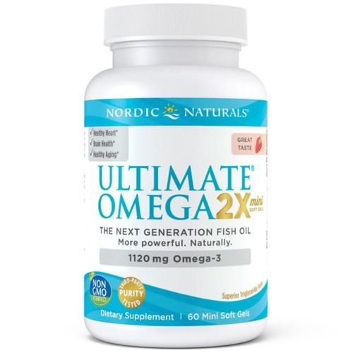 Nordic Naturals Ultimate Omega 2x (1120 mg Omega-3) Strawberry - 60 Mini Soft Gels