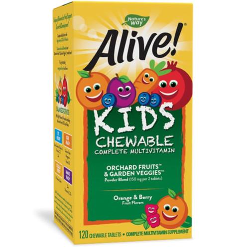 Nature's Way ALIVE! Children's Chewable Multi-Vitamin - Orange + Berry Fruit Flavors (120 Chewable Tablets)
