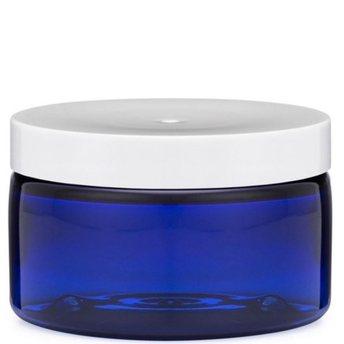 Blue Plastic Jar with White Lid