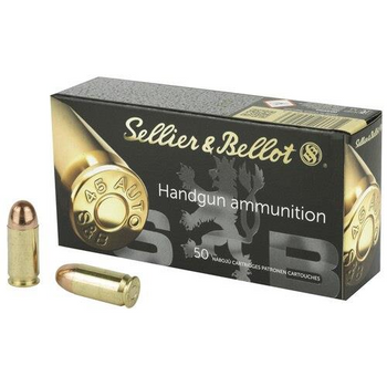 Sellier & Bellot Handgun Ammo - .45 Automatic Colt Pistol - 230 grain - 50 Rounds