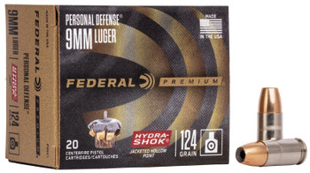 Federal Personal Defense Hydra-Shok 9mm Luger 124gr - 20rd