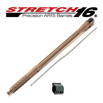 "Stretch 16 Phantom (Flat Dark Earth) 16"" Precision AR15 Barrel Assembly .223 Wylde, 1/8 Twist, Intermediate Length Gas System"