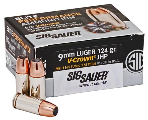 SIG SAUER Elite V-Crown 9mm JHP 124gr 20rd