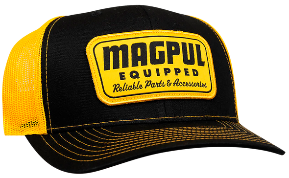 Magpul Industries Equipped Trucker Hat - Black/Gold with Gold Patch