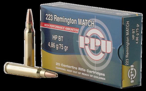 PPU Match 223 Rem - 75 gr HPBT - 20 Rds