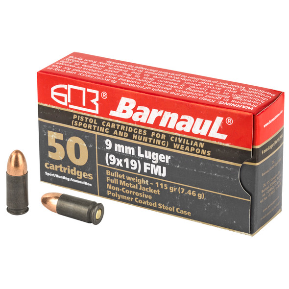Barnaul - 9MM 115Gr FMJ Steel Polycoated Case - 50 Rds