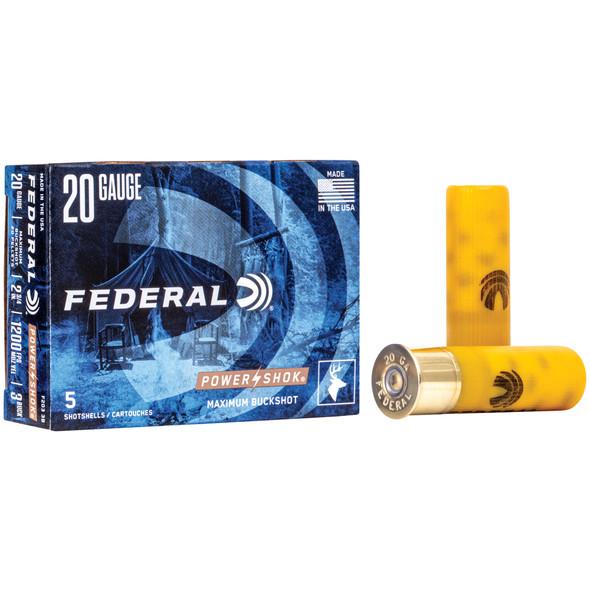 "Federal PowerShok - 20 Ga 2.75"" 3 Buck 20 Pellets - 5 Rds"