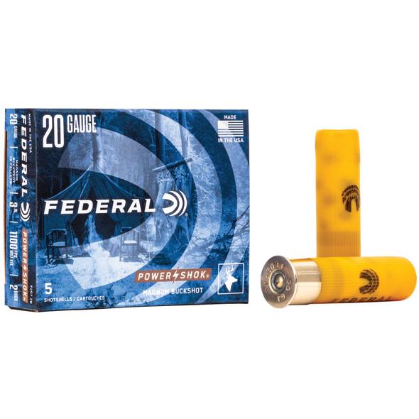 "Federal - PowerShok 20 Ga 3"" #2 Buck 18 Pellets - 5 Rds"
