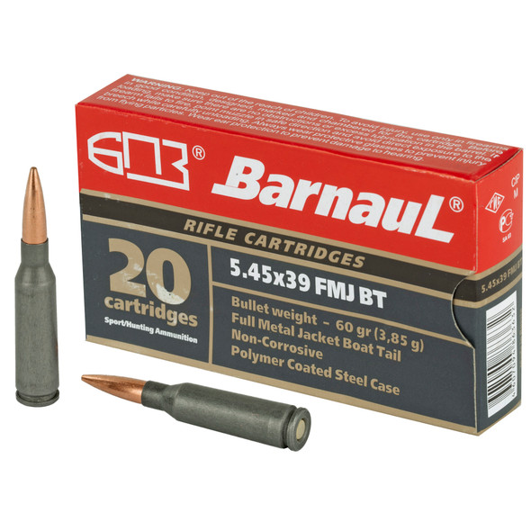 Barnaul - 5.45X39 60Gr FMJ Steel Polycoated Case - 20 Rds
