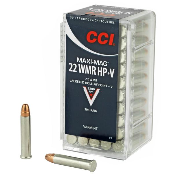 CCI Rimfire, .22 Maxi Mag+V WMR, JHP, 30 Grain, 50 Rounds