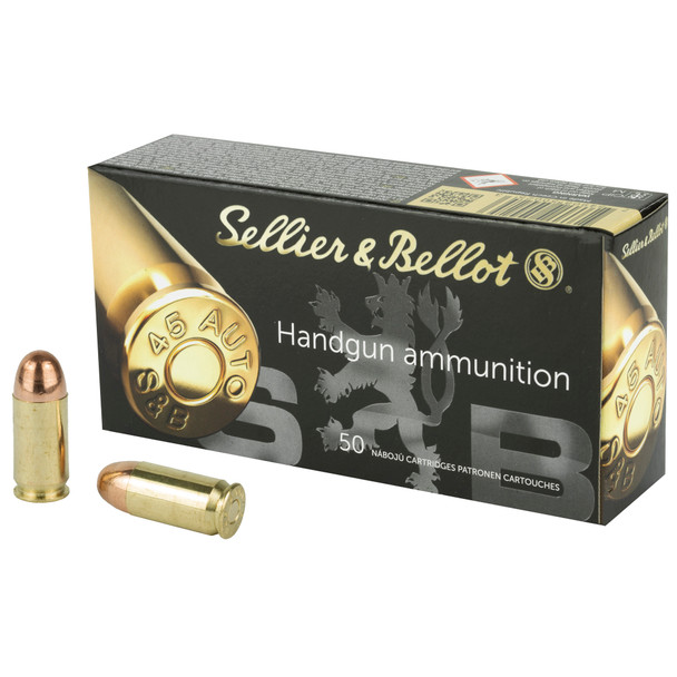 Sellier & Bellot Handgun Ammo - .45 Automatic Colt Pistol - 230 grain - 50 Rounds