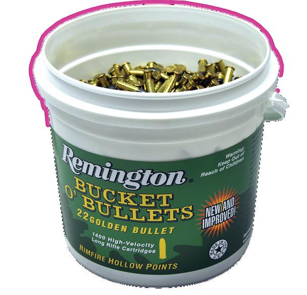 Remington Bucket O' Bullets, Golden Bullet, .22LR, LRNHP, 36 Grain, 1,400 Rounds