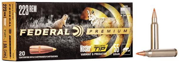 Federal Premium - V- Shok 223 Rem 55 gr Nosler Ballistic Tip - 20 Rds