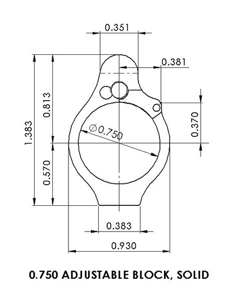 """Superlative Arms .750"""" Adjustable Gas Block, Bleed Off - Solid, Stainless Steel, Matte Finish"""