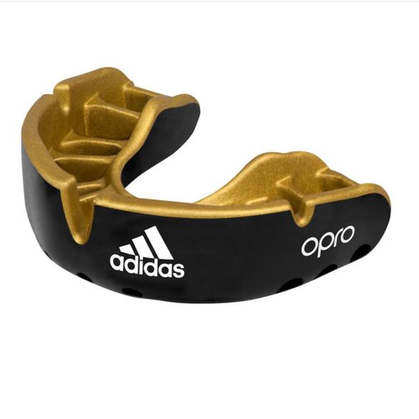 Adidas Senior Black Opro Braces Gold Mouthguard