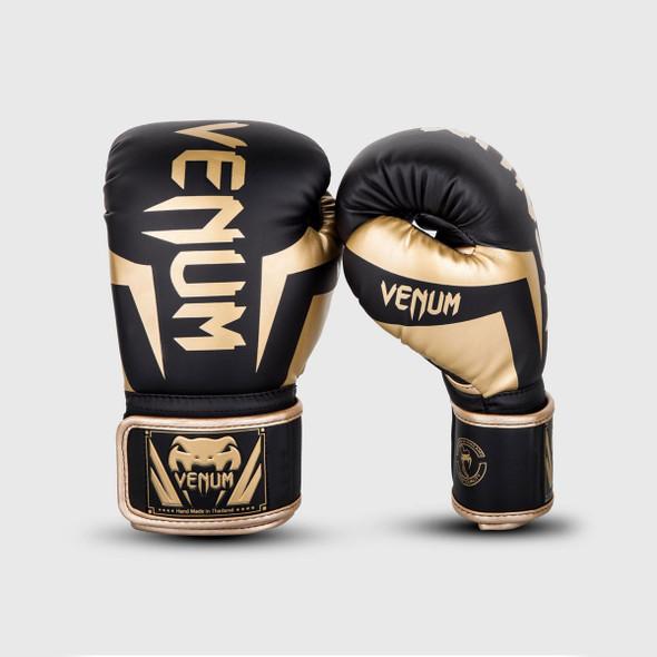 Venum Elite Boxing Gloves (Black/Gold) 16oz