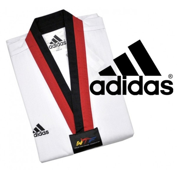 Adidas TKD Dogi - AdiClub Junior Red & Black Collar