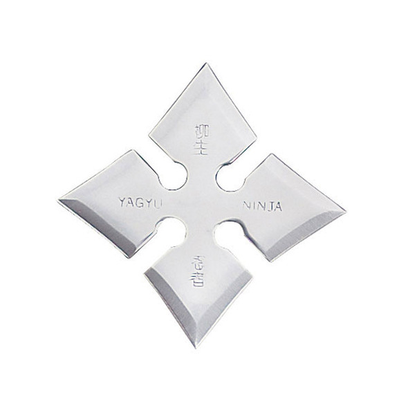 "4"", 4 point throwing star with ninja characters"