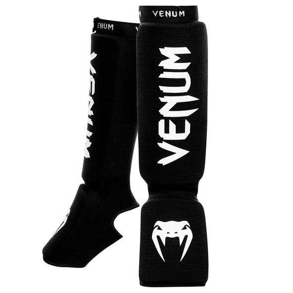 Venum Kontact Shin and Instep - Black with white logo