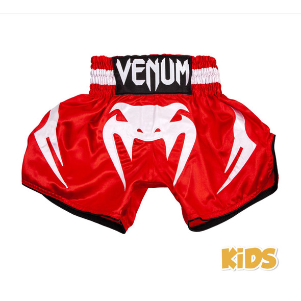 Venum Bangkok Inferno Kids Muay Thai Shorts (White/Red)