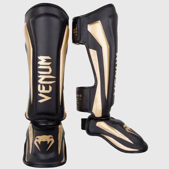 Venum Elite Standup Shin Guards (Black/Gold)