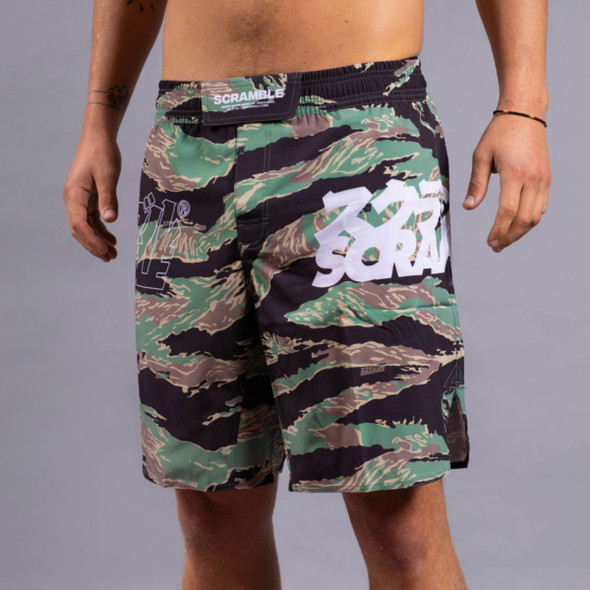 Scramble Base Tiger Camo Fight Shorts