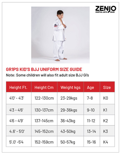 GR1PS LEO COR JUNIOR - WHITE Sizing