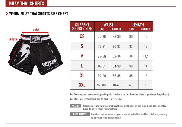 Venum Giant Muay Thai Shorts Sizing