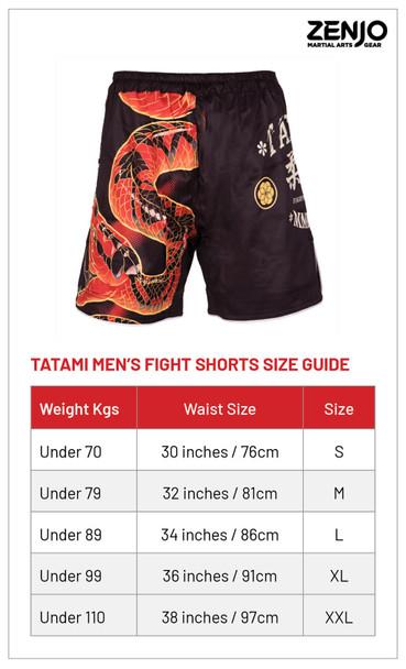 Tatami Duelling Snakes Fight Shorts Sizing