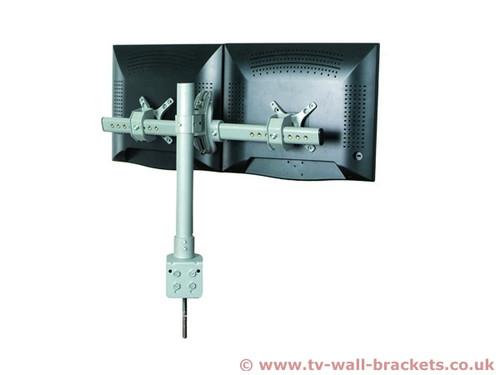 Dual Monitor Fixed Arm Desk Bracket
