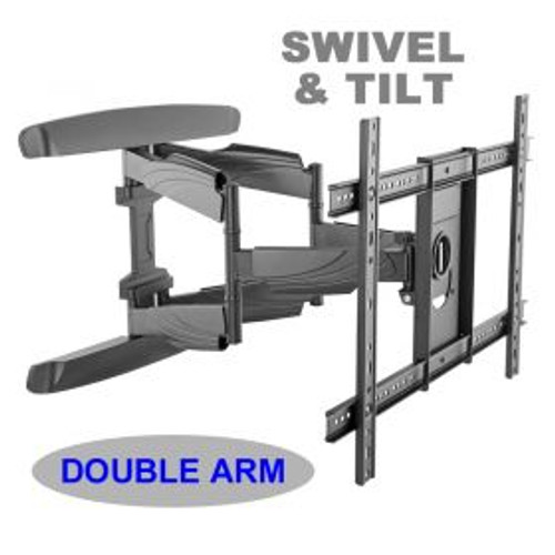 "Double arm. Swivel & tilt . TVs up to 70"". Max VESA 600x400"