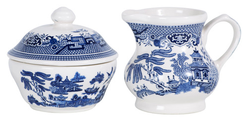 Blue Willow Sugar Bowl & Creamer Set
