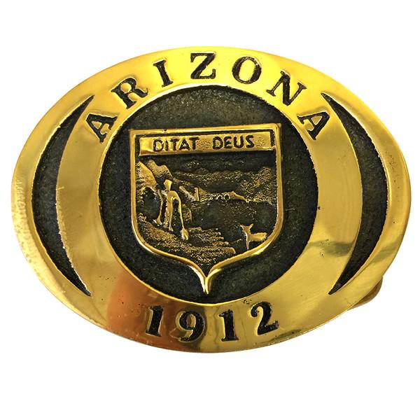 Arizona 1912 State Seal Brass Belt Buckle