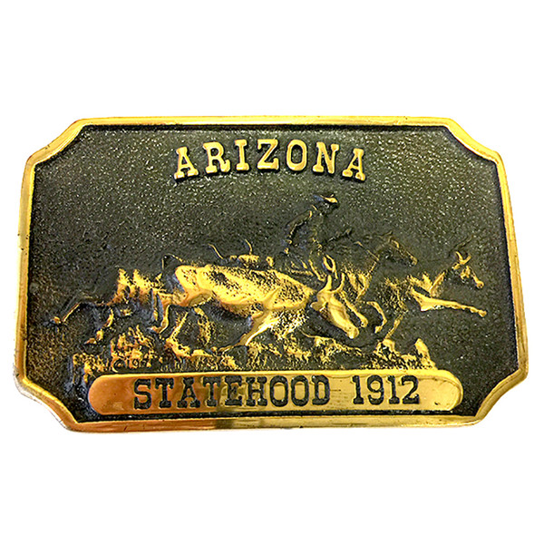 Arizona Statehood 1912 Brass Belt Buckle