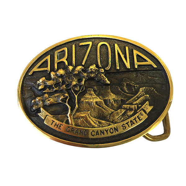 Arizona Grand Canyon State Brass Belt Buckle