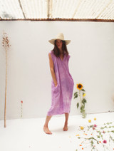 LILAC WASH GAUZE MUSCLE PEASANT DRESS